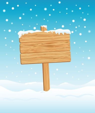 neige qui tombe: Blank Sign bois dans l'illustration neige Illustration