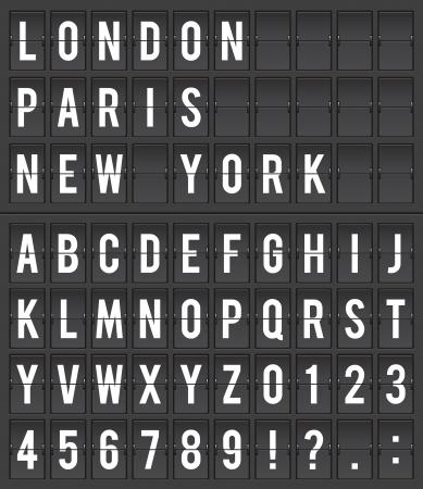 tipografia: Destino de informaci�n de vuelo tarjeta de visualizaci�n ilustraci�n vectorial