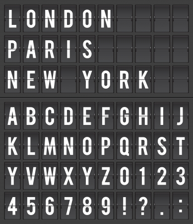 typography: Flight destination information display board vector illustration