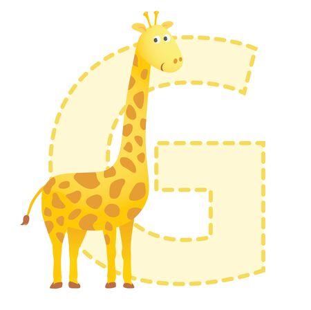jirafa cute: Letra G est� para el ejemplo Giraffe