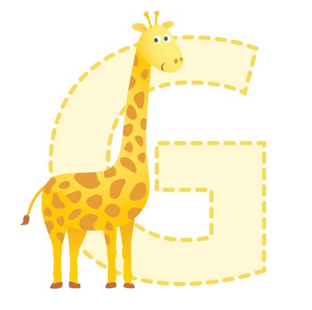 giraffe cartoon: Letter G is for Giraffe  illustration