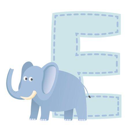 tusks: Letter E is for Elephant  illustration Illustration