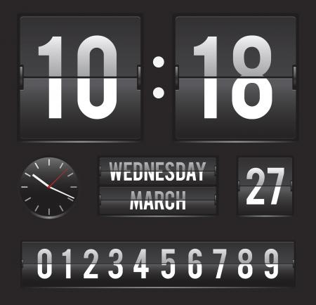 날짜와 아날로그 다이얼 타이머 템플릿 레트로 플립 시계 스톡 콘텐츠 - 18679363