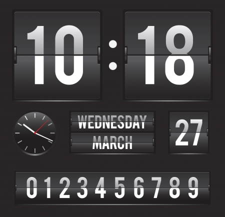 retro flip clock with date and analog dial timer template Vector