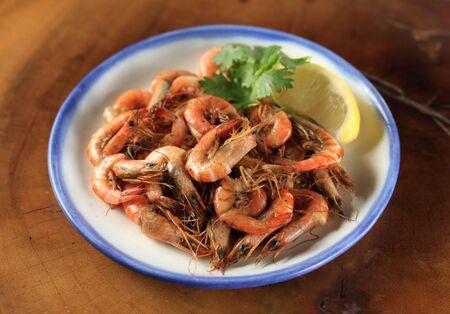 Japanese dish stir fried river shrimp
