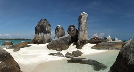 Batu Berlayar Island with natural rock formation, tourist destination, Belitung Island, Indonesia