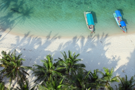 High angle shot of a tropical paradise beach