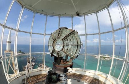 Large fresnel lens of lighthouse beacon