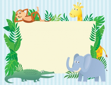 kids birthday party: Animal themed illustration with blank sign board for text Illustration