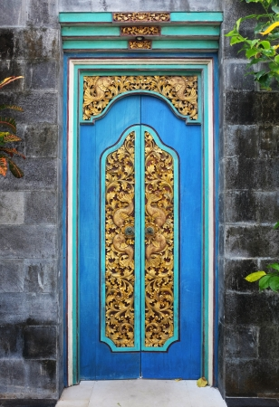 Typical wood carving doors in Bali