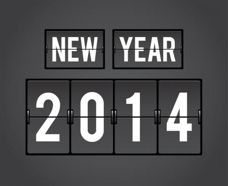 Retro New Year 2014 analog countdown counter