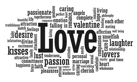 besos apasionados: Amor palabra nube ilustración en formato vectorial