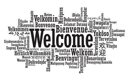 de bienvenida: Tag Bienvenido Nube en formato vectorial
