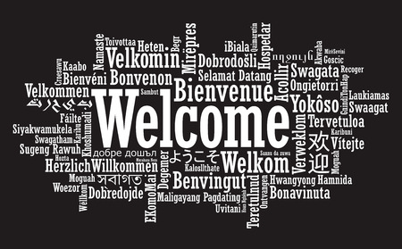 bienvenida: Tag Bienvenido Nube en formato vectorial
