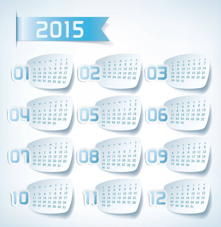yearly: 2015 Yearly Calendar. Sticker labels design illustration