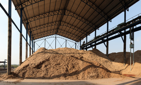 Bagasse is the fibrous matter that remains after sugarcane or sorghum stalks are crushed to extract their juice. Bagasse is used as a biofuel and in the manufacture of pulp and building materials Stock Photo