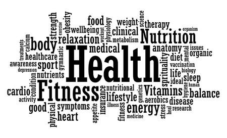 Health, fitness, awareness word cloud vector illustration
