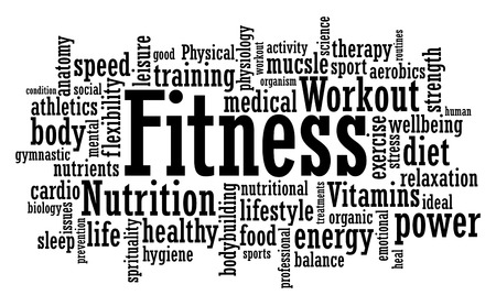 Fitness exercise training tag cloud vector illustration Stock Illustratie