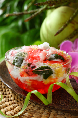Es Campur, traditional Indonesian mixed fruits shaved ice dessert