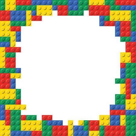 Lego Building Blocks Brick Border Frame Background Pattern Texture template.