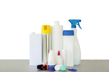 reciclable: Composition of recyclable bottles, dispensers and storage on white background Foto de archivo