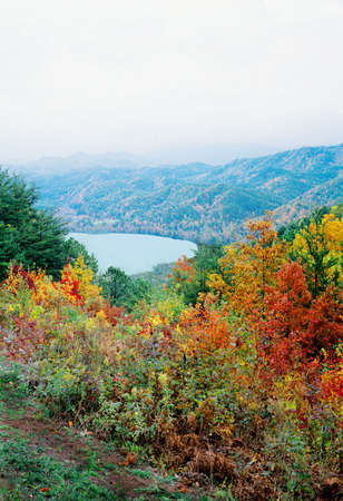 Autumn Colors with Lake and Mountains Stock Photo