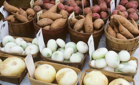 Sweet Potatoes and Onions Stock Photo