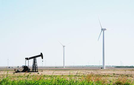Oil Pump and Wind Turbines Stock Photo