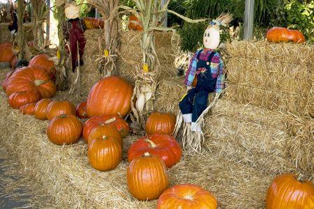 Halloween pumpkins and strawmen