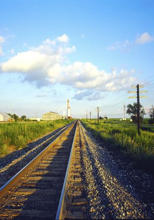 distance: Railroad Tracks going off in the distance Stock Photo