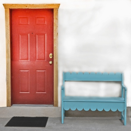 Red Door and Blue bench photo
