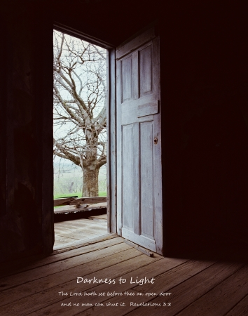 dismal: Open Door-Darkness to Light Stock Photo