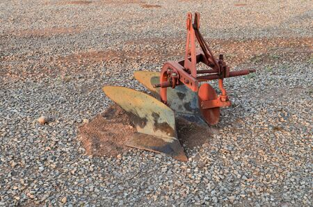 Isolated view of antique farming tiller