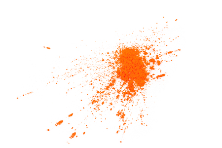 Natural pigment powder orange color. Cosmetics product isolated on white background.