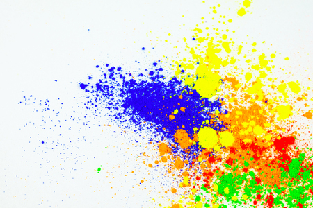 Many colorful natural pigment powder. Cosmetics product on white background. Banco de Imagens