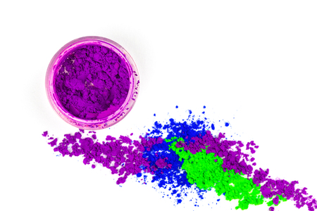 Many colorful natural pigment powder. Cosmetics product  on white background. Stock Photo