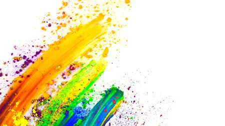 Abstract smear with finger made of multicolored pigment, isolated on white. Mixed bright eye shadow.