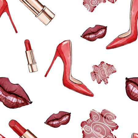 Red lips , red women high heel shoes painted in watercolor and red lipstick .