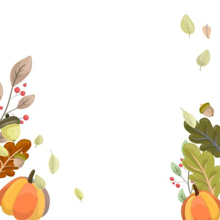 Colorful ripe orange pumpkin drawn in cartoon style on a background of cute green leaves, harvesting, autumn concept. Ilustrace