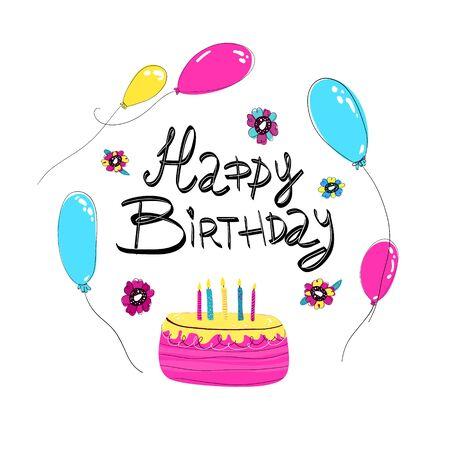 Cadre de lettrage joyeux anniversaire dessiné à la main dans un style doodle. Célébration d'anniversaire de cinq ans. Vecteurs
