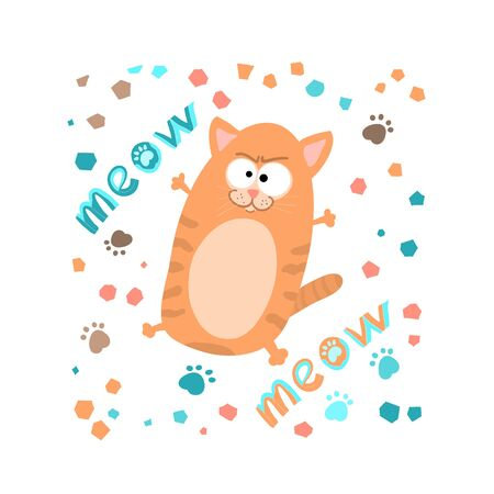 Cunning striped ginger cat ,handwritten lettering meow, in cartoon style,childrens textiles.