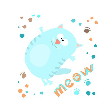 Cute funny cat ,handwritten lettering meow, in cartoon style,childrens textiles. Çizim