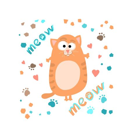 Cute funny ginger cat ,handwritten lettering meow, in cartoon style,childrens textiles.