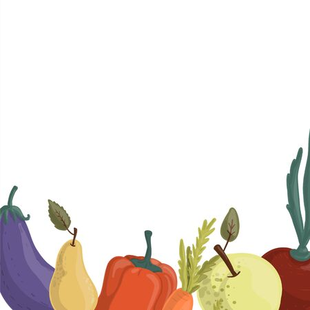 Set of autumn vegetables drawn in cartoon style, harvest time, healthy eating concept. Copy space.