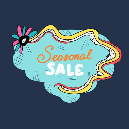 Creative and modern promotional banner with text - seasonal sale, discount emblem hand drawn. Banque d'images - 137803860