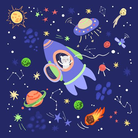 Animals travel in space. Doodle in cartoon style, flat vector illustration. Humor concept. Illustration