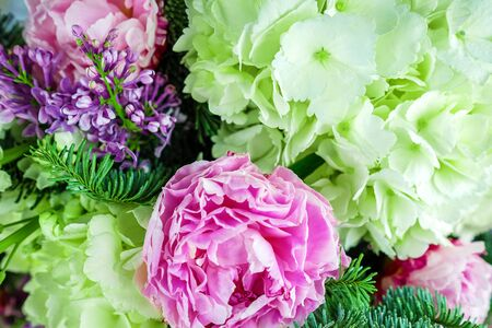 Beautiful bouquet flowers from peonies, lilacs and hydrangeas decorated with coniferous branches. Banco de Imagens