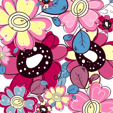 Abstract happy background . Pattern of bright colorful flowers in cute style. Beautiful colorful doodle background. Ilustrace