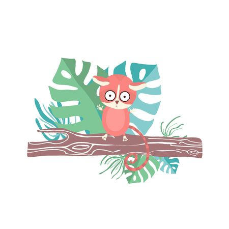 Cute lemur drawn in cartoon style by hand sitting on a tree branch in the jungle. Print for t-shirts, childrens textiles, poster design. Flat vector illustration.
