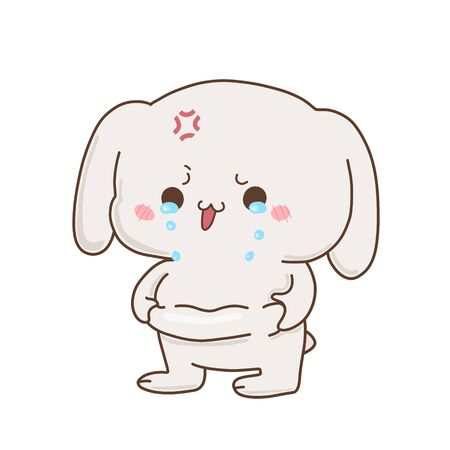 Cute bunny crying because fat, vector hand-drawn illustration in kawaii style. Excess weight . Cartoon doodle for children's textiles, t-shirts or postcards.